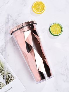 Shop Geometric Straw Cup at ROMWE, discover more fashion styles online. Cute Water Bottles, Best Water Bottle, Water Bottle Design, Drink Bottles, Copo Starbucks, Bebidas Do Starbucks, Things To Buy, Girly Things, Smoothie Cup