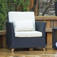 Shop All Things Cedar Rattan Deep Seating Outdoor Lounge Chair at Lowe's Canada. Find our selection of outdoor conversation chairs at the lowest price guaranteed with price match. Rattan Armchair, Outdoor Armchair, Outdoor Side Table, Outdoor Seating, Outdoor Lounge, Patio Chairs, Outdoor Chairs, Outdoor Decor, Outdoor Ideas
