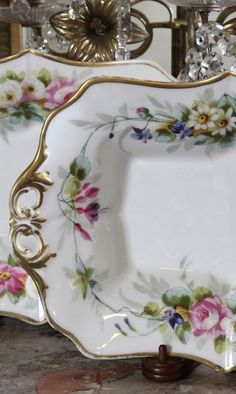 Pair Antique Vieux Paris Porcelain Platters | Antique China/Ceramics | Inessa Stewart's Antiques