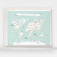 Animal world map instant download map nursery art by LlamaCreation
