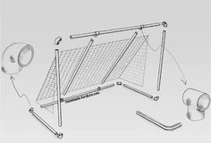 Construct cheap transportable goals for many sports. Drawings for strong scaffolding tubes and pipe clamps to make goal poles for soccer and hockey. Scaffolding Materials, Scaffolding Wood, Futsal Court, Scaffold Tube, Hockey Goal, Sports Drawings, Pvc Pipe Projects, Football Themes, Construction Drawings