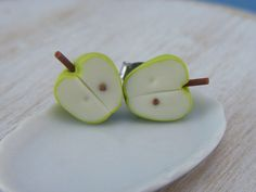 Granny Smith Apple  Studs / Post Earrings by shayaaron on Etsy, $15.50