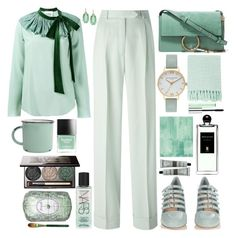 """""""Mint"""" by sinesnsingularities ❤ liked on Polyvore featuring John Galliano, Chloé, Miu Miu, Butter London, Olivia Burton, Surya, Kate Spade, Clinique, Serge Lutens and Aesop"""