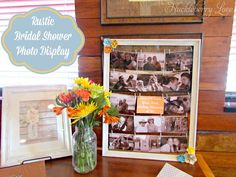 Rustic Bridal Shower Photo Display- a beautiful, creative and fun way to display photos for any occasion!