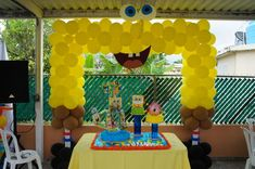 """From one """"yellow"""" to another yellow birthday party theme. While I was writing my compilation of Minion Birthday Party Ideas, I can't help but mix it up with another cute character named SpongeBob Squarepants. This lead star of an American… Yellow Birthday Parties, Birthday Party Decorations, 3rd Birthday, Birthday Ideas, Stage Decorations, Balloon Decorations, Spongebob Face, Spongebob Birthday Party, Spongebob Party Ideas"""