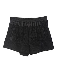 Black Elastic Waist Contrast Leather Lace Shorts 0.00