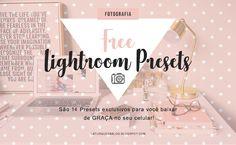 Presets para Lightroom - Baixe GRÁTIS no seu celular! Presets Do Lightroom, Lightroom Gratis, Vsco Presets, Blog Images, Instagram Feed, Apps, Photo Editing, Presents, Free