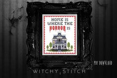 Home Is Where The Horror Is Bates House Cross Stitch