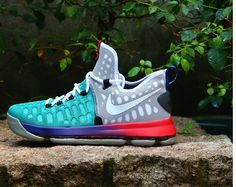 NIKE KD 9 MULTI COLOR TEAL RED BLUE 843392 050  $ 180
