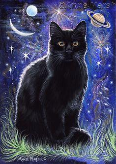 Cat Art... =^. ^=... ❤... Black Cat Merlin Fantasy Print Painting... By Artist Anne Marsh Art...