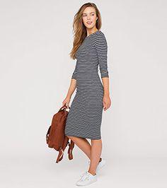 Dames Geribde jurk in zwart/wit –  Voordelig Online bij C&A