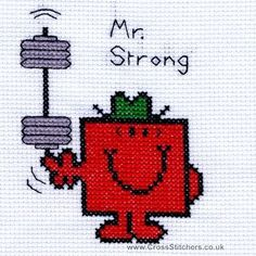 Mr Strong - Mr Men Cross Stitch Card Kit from Bothy Threads