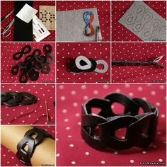 How to Make Cool Interlocking Leather Bracelet tutorial and instruction. Follow us: www.facebook.com/fabartdiy