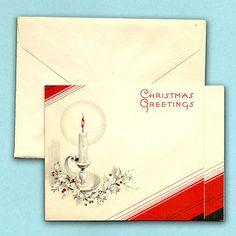 UNUSED ANTIQUE CHRISTMAS GREETINGS CARD W/ ENVELOPE NEW YEAR XMAS SANTA CANDLE   eBay