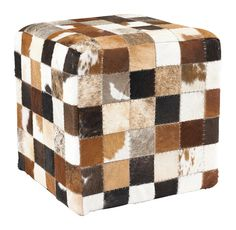 This natural cowhide cube is solid and will add some funky extra seating to your home. Each one is different due to the natural cowhide.