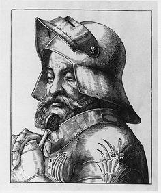 Goetz von Berlichingen - Robber baron 1480-1563 Medieval Knight, Medieval Armor, Imperial Knight, Soft Spoken, Helmet Design, Ex Libris, Dark Ages, 15th Century, Warfare