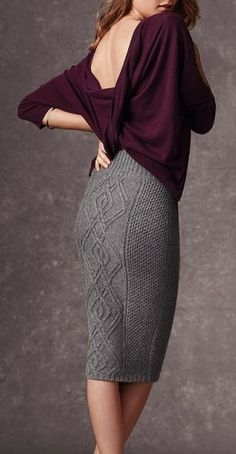 Office look | Loose plum shirt with chic grey pencil skirt