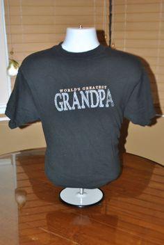 GU Men's Mens WORLD'S GREATEST GRANDPA BLACK T SHIRT EMBORIDERED FRONT L LARGE $9.99