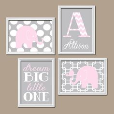 Elephant Nursery Wall Art Pink Gray Nursery Baby Girl by TRMdesign