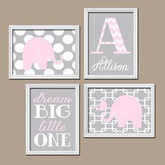 Elephant Nursery Wall Art Pink Gray Nursery Baby Girl by TRMdesign