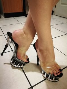 Clear mules and nice feet
