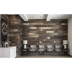 "Poppa's Barn 52"" x 4.87"" Reclaimed Solid Wood Wall Paneling | Wayfair Reclaimed Wood Projects, Reclaimed Wood Furniture, Reclaimed Barn Wood, Vintage Industrial Furniture, Industrial Style, Industrial Design, Rough Wood, Wood Panel Walls, Wood Ceilings"