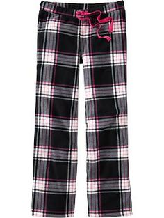 Old Navy Fleece PJ pants in pink/black plaid, blue plaid, and cheetah. So cute for  pajamas!!!!