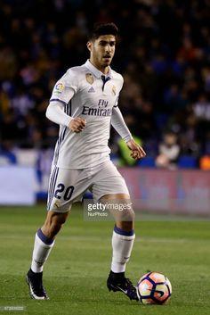 Marco Asensio midfielder of Real Madrid (20) drives the ball during the La Liga Santander match between Deportivo de La Corua and Real Madrid at Riazor Stadium on April 26, 2017 in A Corua, Spain.