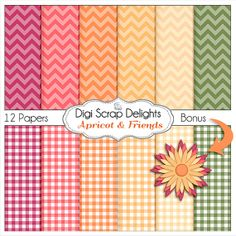 Apricot Chevron Digital Papers w Peach Pink Purple Green by DigiScrapDelights