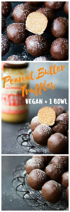Irresistible chocolate coated truffles filled with crunchy peanut butter, coconut, banana and more. Easy done in 1 bowl! | wholesomepatisserie.com #peanutbutter #chocolatetruffles #pb #vegan #glutenfree