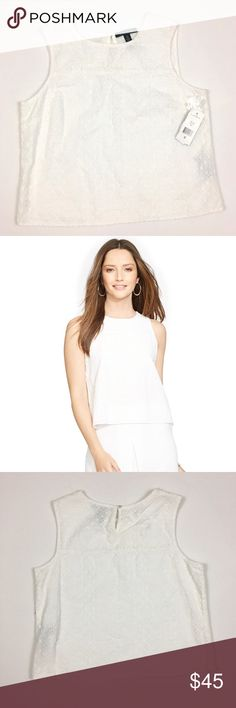"""NWT - Ralph Lauren white eyelet sleeveless blouse NWT - Ralph Lauren white eyelet sleeveless blouse. Variety of eyelet designs make up this perfect summer blouse. Fully lined. Approx measurements laying flat: chest - 18.5"""", length - 21"""". Lauren Ralph Lauren Tops Blouses"""