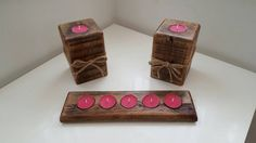 Check out this item in my Etsy shop https://www.etsy.com/uk/listing/294609565/tea-light-holders-rustic-wooden-tea