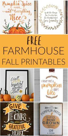 FREE Farmhouse Fall Printables! Farmhouse Fall Decor for your home.