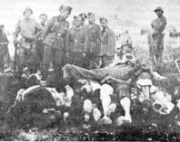 A mass execution carried out by the Croatian Ustashi at Brode, early in 1941. Nazi troops were looking at some of the Serbs victims.