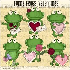 Funny Frogs Valentines 1 - Clip Art by Cheryl Seslar