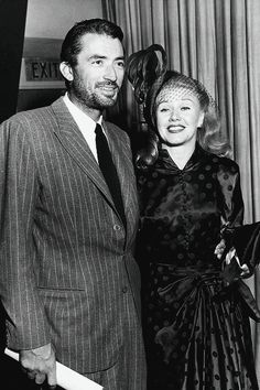 """Gregory Peck and Ginger Rogers at CBS' radio show """"Family Hour of Stars"""", 1948."""
