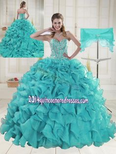 cdd866d6f49 Aqua Blue Sweetheart Brush Train Beading Quinceanera Dresses Lavender  Quinceanera Dresses