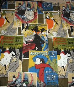 VINTAGE FABRIC PRINTED ART WORK OF TOULOUSE-LAUTREC