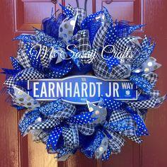 Nascar Wreath - Dale Earnhardt Jr Wreath - Dale Earnhardt Jr door hanger - Racing Wreath - Deco Mesh Wreath - Race Car Driver Wreath by MsSassyCrafts on Etsy https://www.etsy.com/listing/252376817/nascar-wreath-dale-earnhardt-jr-wreath