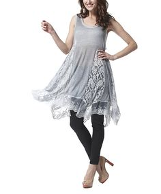 Look at this Simply Couture Blue Lace Godet Tunic on #zulily today!