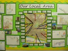 Our Local Area Display - Journeys, maps and addresses. Creating story maps or models to represent the location of the places and features they pass on their way to school. Teaching Displays, Class Displays, School Displays, Classroom Displays, Teaching Ideas, Geography Classroom, Geography Activities, Teaching Geography, Geography Worksheets
