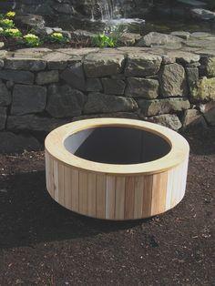 large circular wood planter