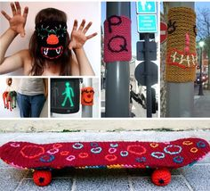 great ideas!  masks, bombed skateboard...incognito knit graffiti