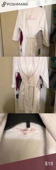 "Terry cloth ""Bride"" robe Terry cloth ""Bride"" robe for when bride is getting ready. Used once for a couple hours. Perfect condition. Intimates & Sleepwear Robes"