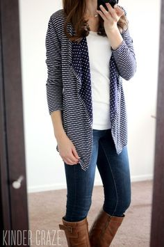Love the contrast of the stripes and polka dots on this cardigan.