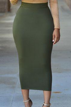 High Waist Slim Vintage Midi Skirt