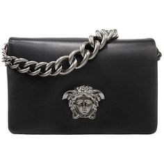 VERSACE Palazzo Medusa Shoulder Bag (21.485 NOK) ❤ liked on Polyvore featuring bags, handbags, shoulder bags, bolsos, leather shoulder handbags, versace shoulder bag, leather handbags, chain handle handbags and shoulder bag purse