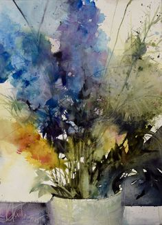 Dogwood Flowers Watercolor Abstract ART Print by Artist DJR