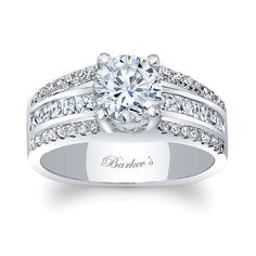 This three row diamond engagement ring features a round center diamond. The white gold shank sports three rows of diamonds cascading down the shoulders. The center row comes in yellow gold and is flanked by a white gold row of diamonds on each side. Engagement Rings Channel Set, Round Cut Engagement Rings, Engagement Ring Sizes, Rose Gold Engagement Ring, Diamond Wedding Rings, Vintage Engagement Rings, Wedding Band, Thing 1, Gucci