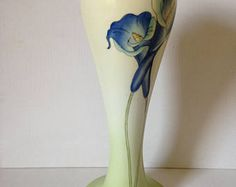 Lily Vase, Art Nouveau Style Vase, Blue Flower Vase, New Home Gift, Floral Vase, Tall Vase, Blue Lily, Hand Painted Vase, Blue Home Decor
